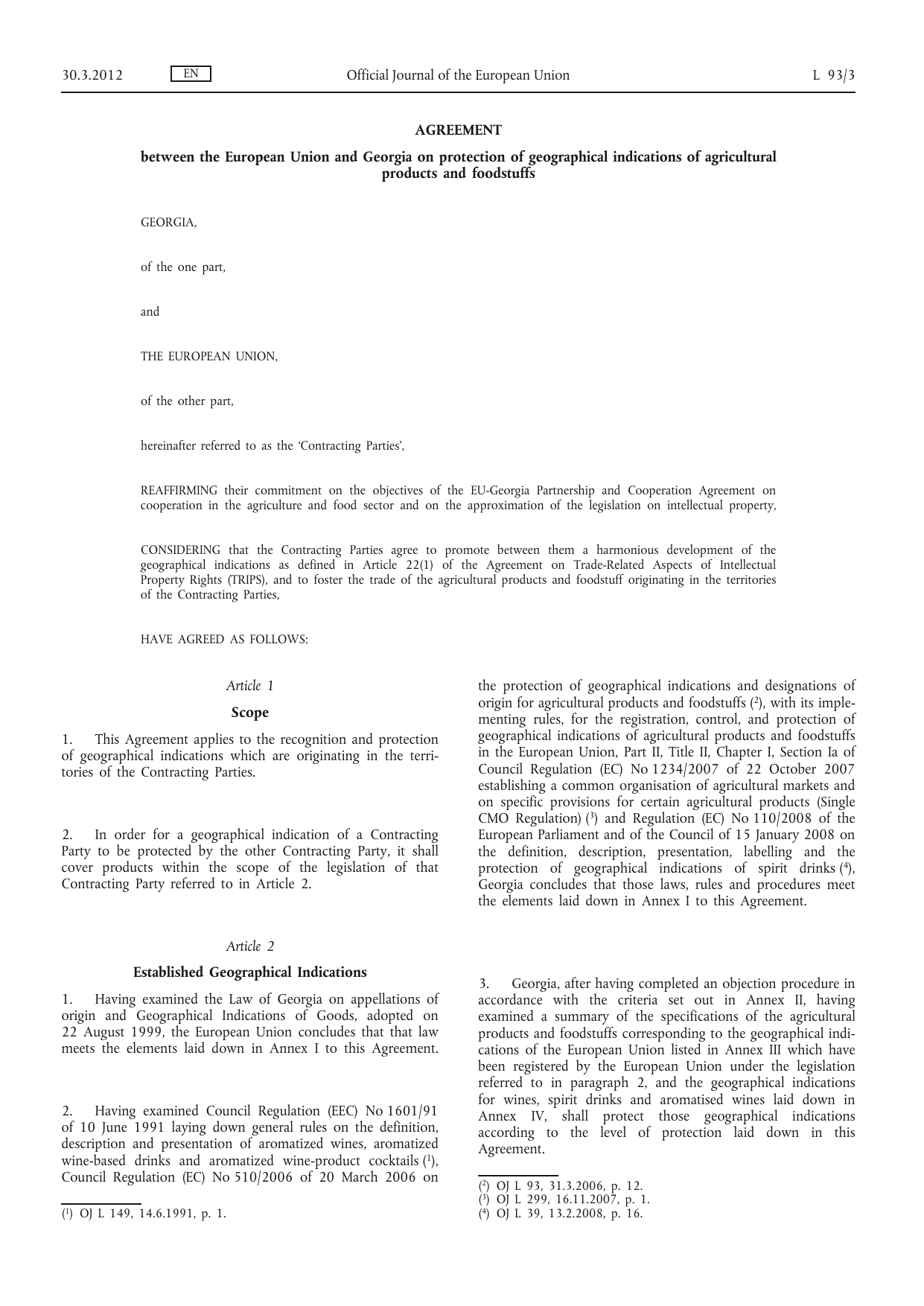 Agreement Between The European Union And Georgia On Protection
