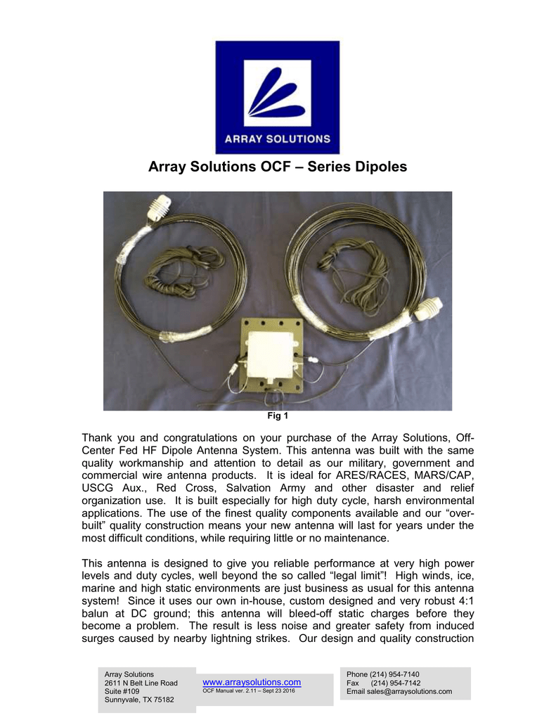AS-OCF Dipole - Array Solutions
