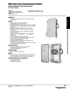 WD2S Series Factory Sealed Disconnect Switch Catalog Pages