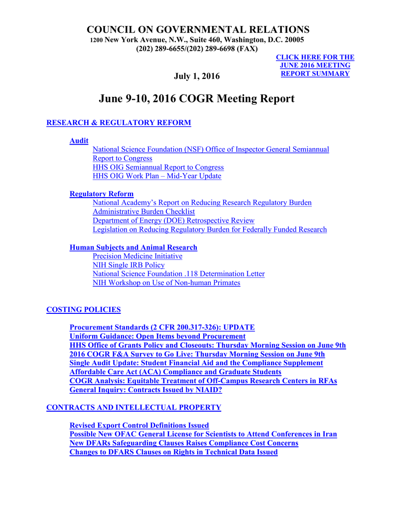 June Meeting Report - Council on Governmental Relations