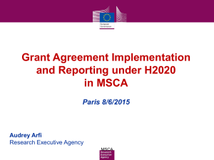 Grant Agreement Implementation and Reporting under H2020 in