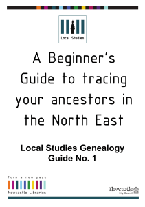 Local Studies Genealogy Guide No. 1