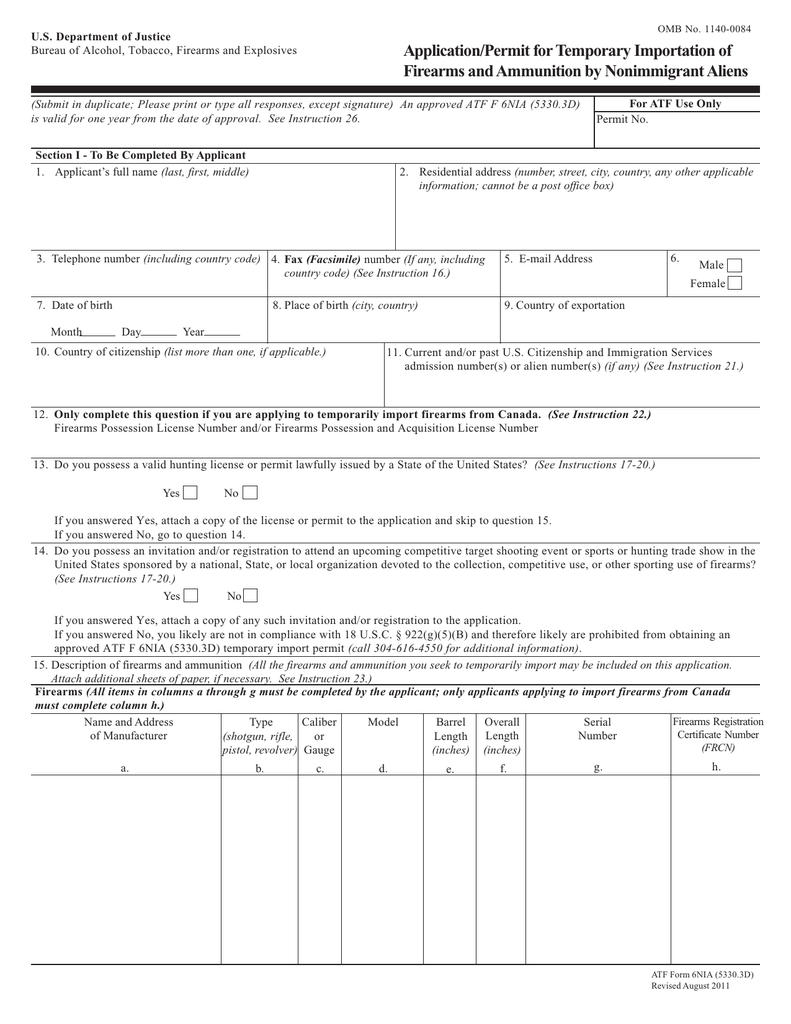 53303d Applicationpermit For Temporary Importation Of Firearms