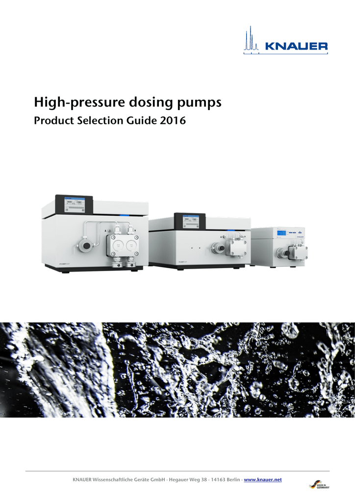 KNAUER high-pressure dosing pumps, Selection Guide