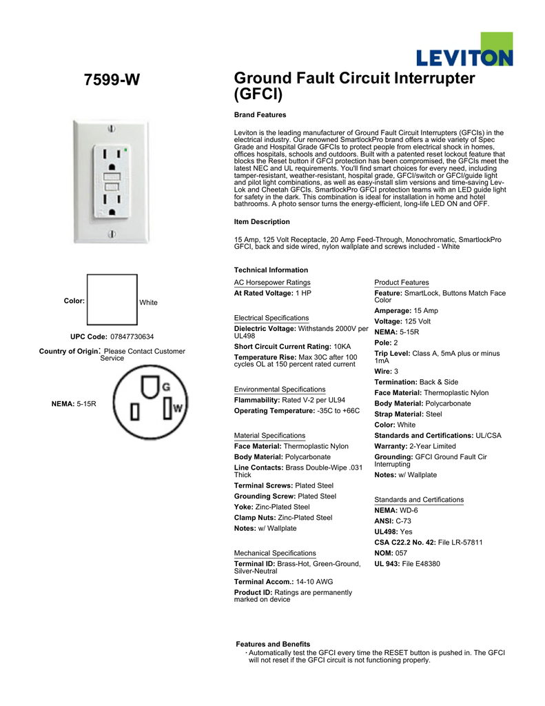 7599 W Ground Fault Circuit Interrupter Gfci Leviton Wiring Diagram Multiple