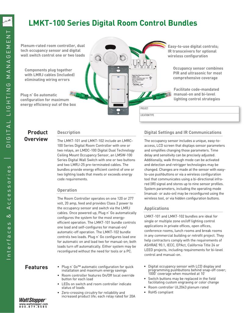 Lmkt 100 Series Digital Room Control Bundles Occupancy Sensors For Lighting Wiring Diagram