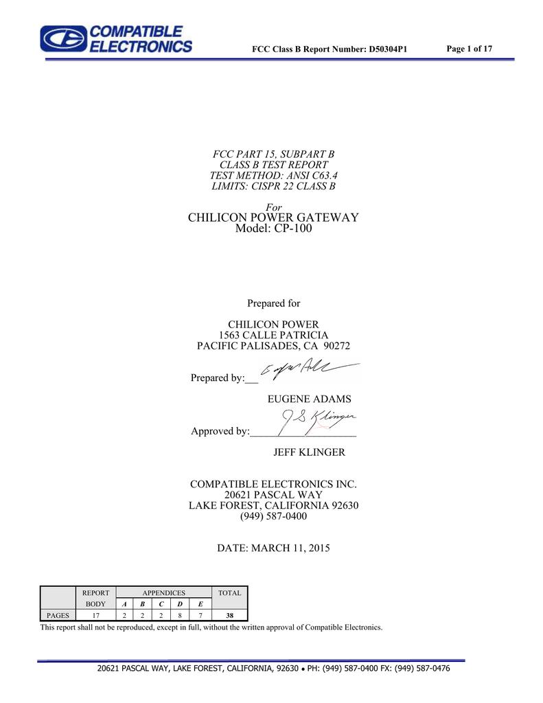 CP-100 Gateway CISPR 22 Class B