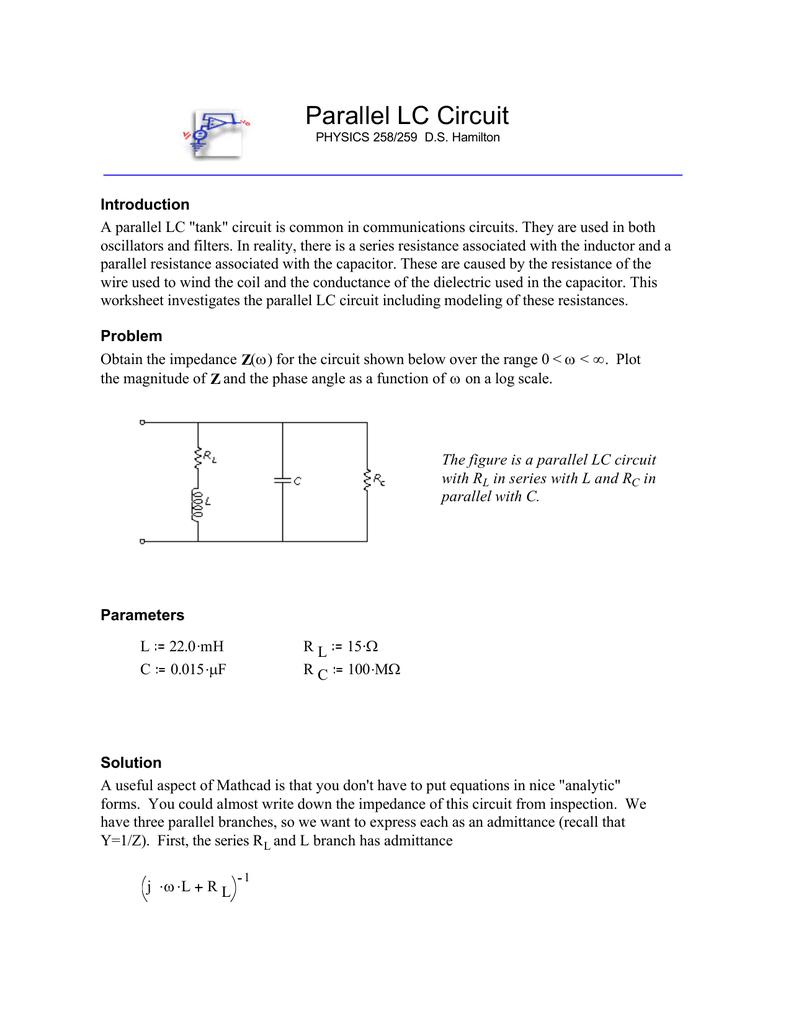 Mathcad Lcmcd Rc Tank Circuit