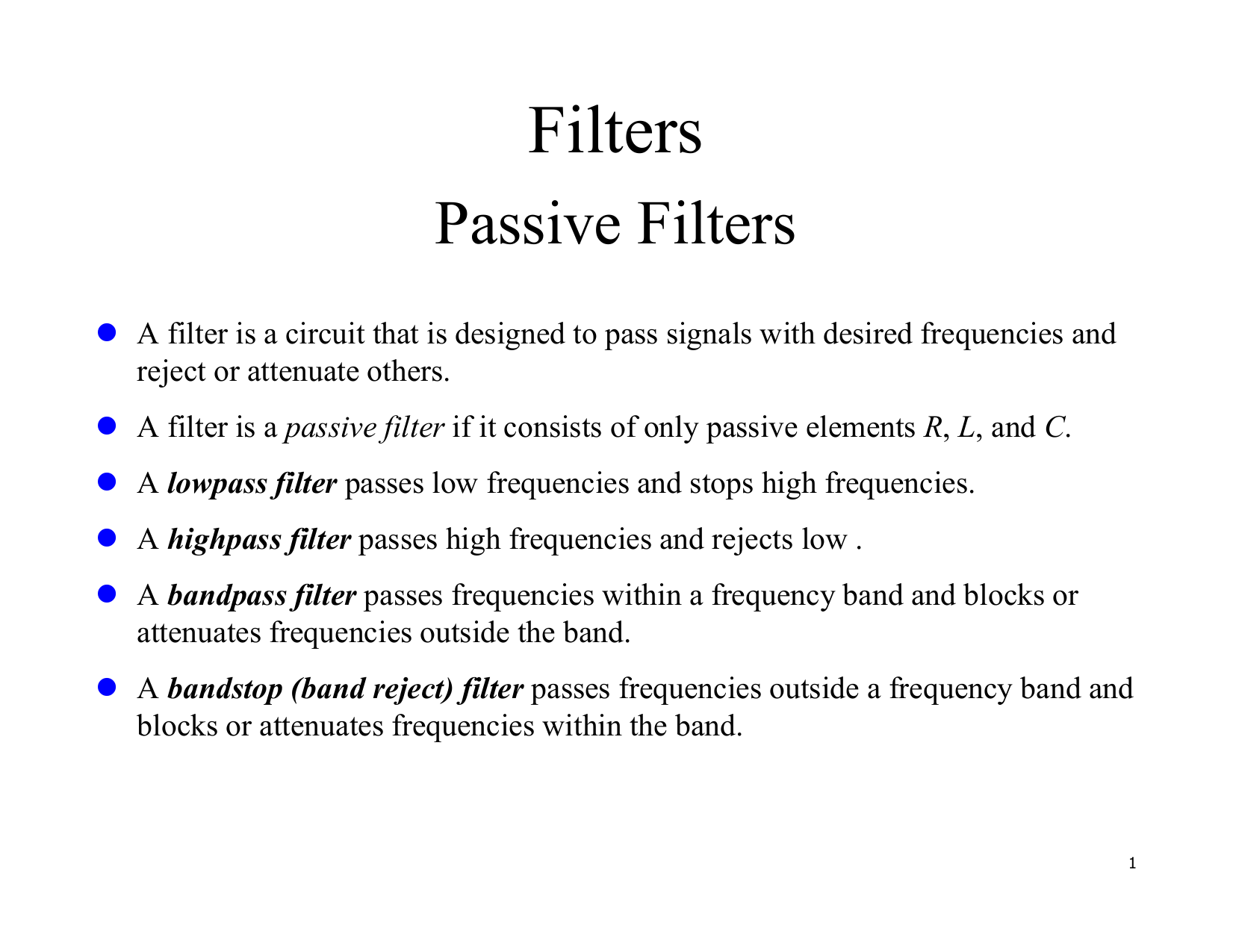 Document Lc Rf Filter Circuits Lowpass Highpass Bandpass And Notch