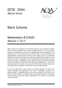 GCSE Mathematics and Science March 2004 Mark