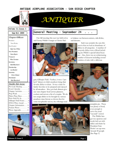 San Diego Antiquer Chapter Newsletter for
