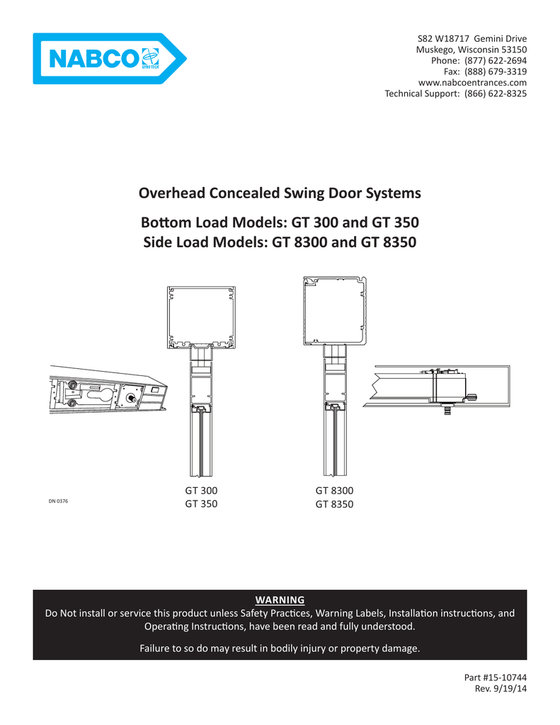 owner s manual nabco entrances rh studylib net nabco gyro tech 710 installation manual North American Breaker Company Dallas