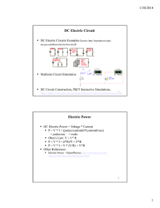 DC Electric Circuit Electric Power