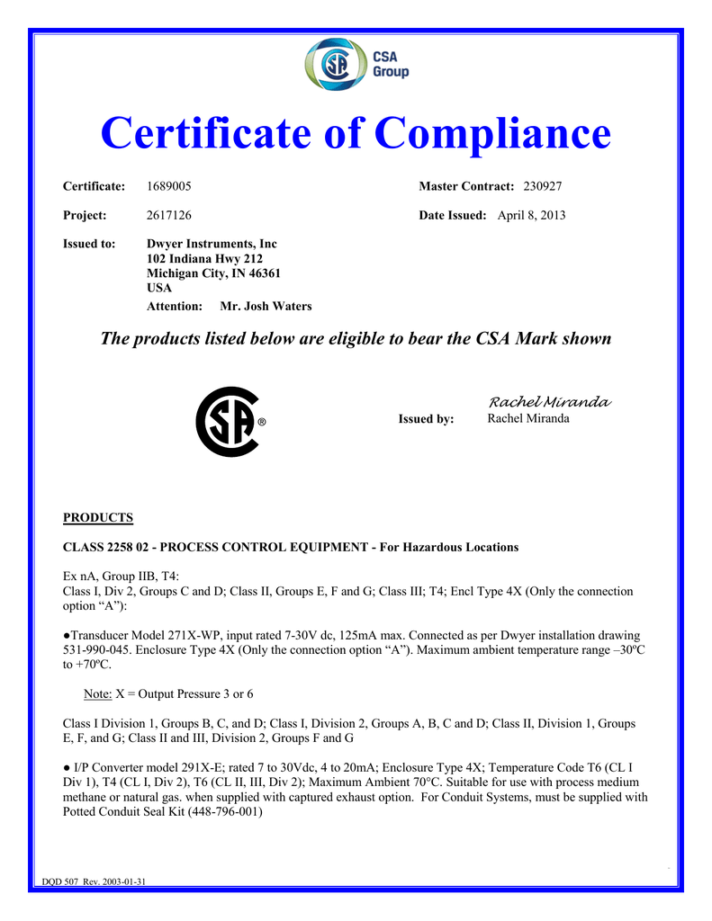 Certification Report Template