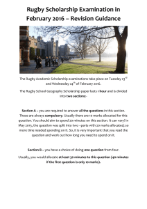 Rugby Scholarship Examination in February 2016 – Revision