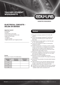 Electrical Circuits - Bulbs in a Series