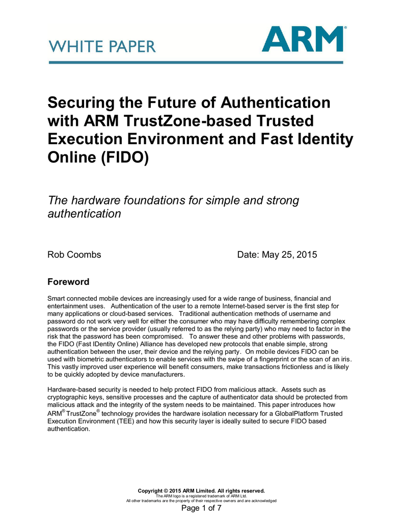 Securing the Future of Authentication with ARM TrustZone