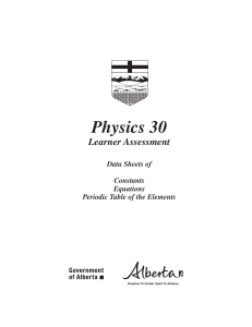 Physics Data Sheet