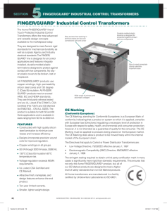 FINGER/GUARD® Industrial Control Transformers
