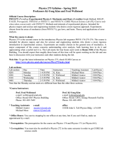 Physics 275 Syllabus - Spring 2005