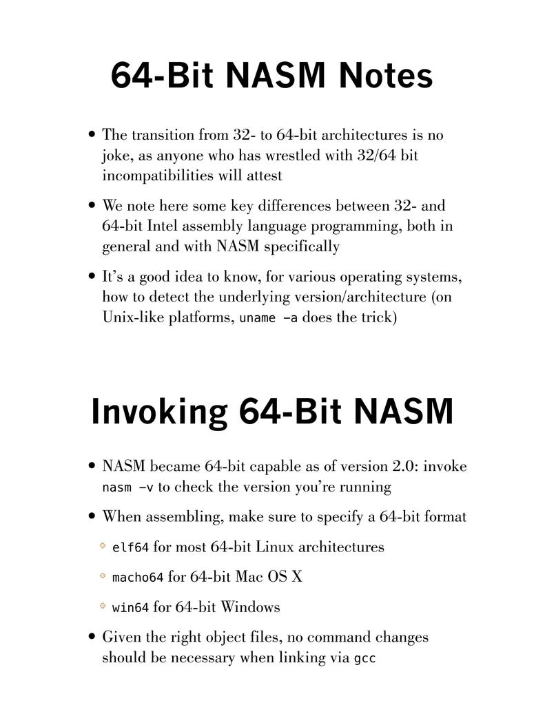 64-bit NASM Notes