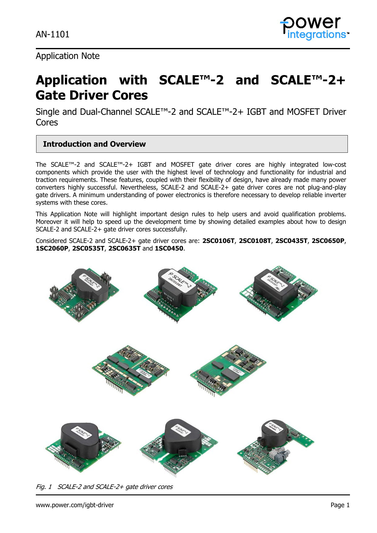 AN-1101: Application with SCALE-2 Gate Driver Cores