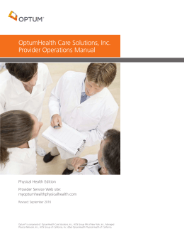 OptumHealth Care Solutions, Inc. Provider Operations Manual