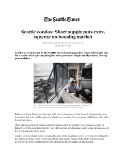 Seattle condos: Short supply puts extra squeeze on housing market