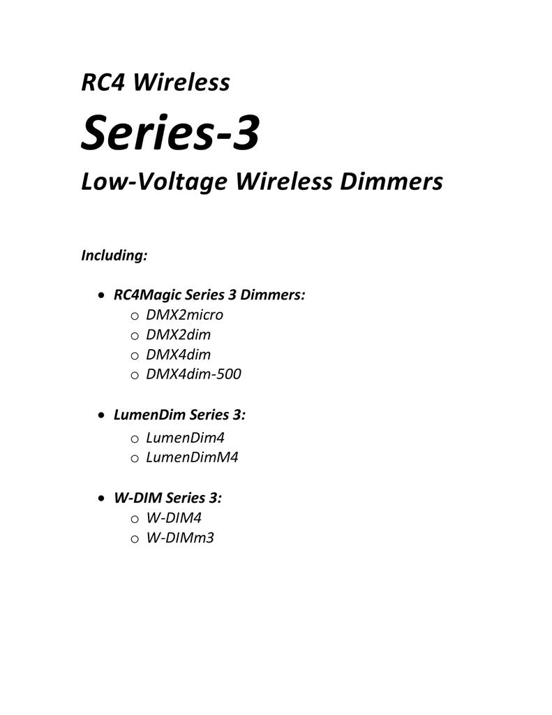 Rc4 Series 3 Dimmer User Manual Wiring Diagram
