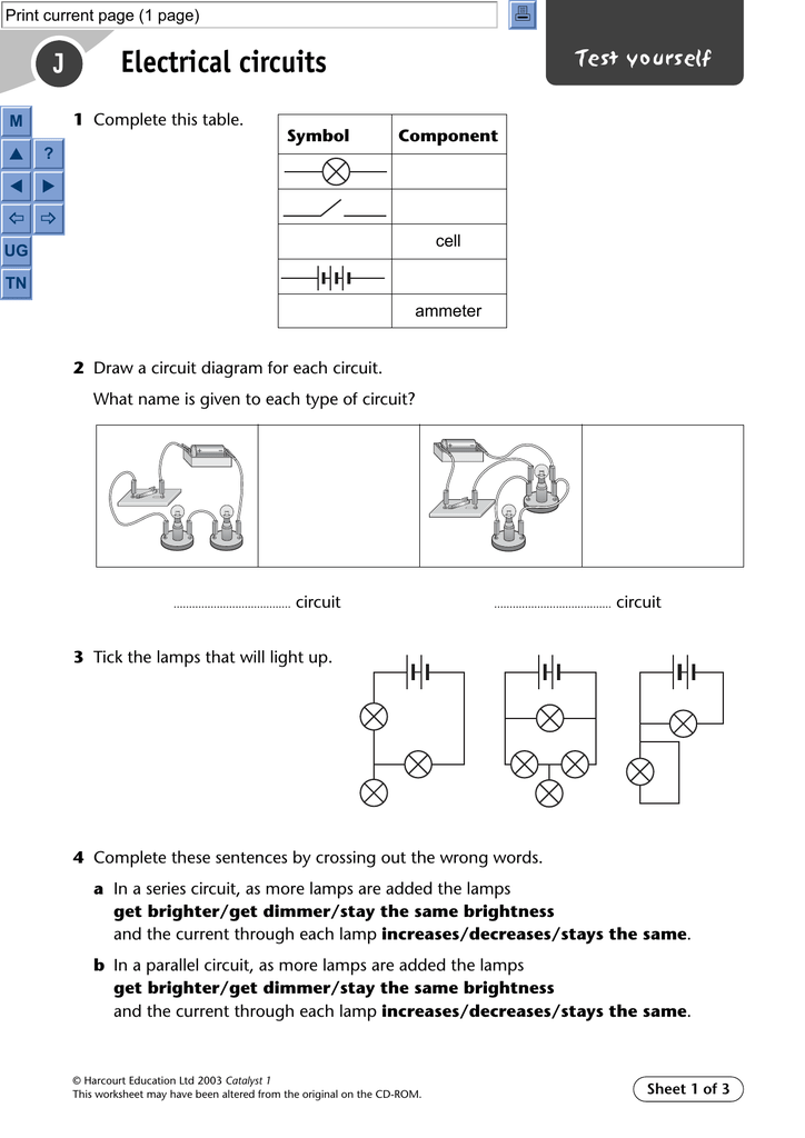 6 print current page (1 page) j m test yourself electrical circuits 1  complete this table  p ? t u symbol component ^ _ cell ug tn ammeter 2 draw  a circuit