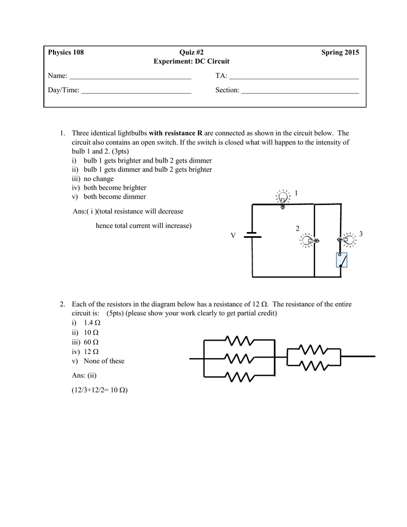 Physics 108 Quiz 2 Spring 2015 Experiment Dc Circuit Name Ta Diagram Board