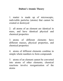 Dalton`s Atomic Theory 1. matter is made up of microscopic