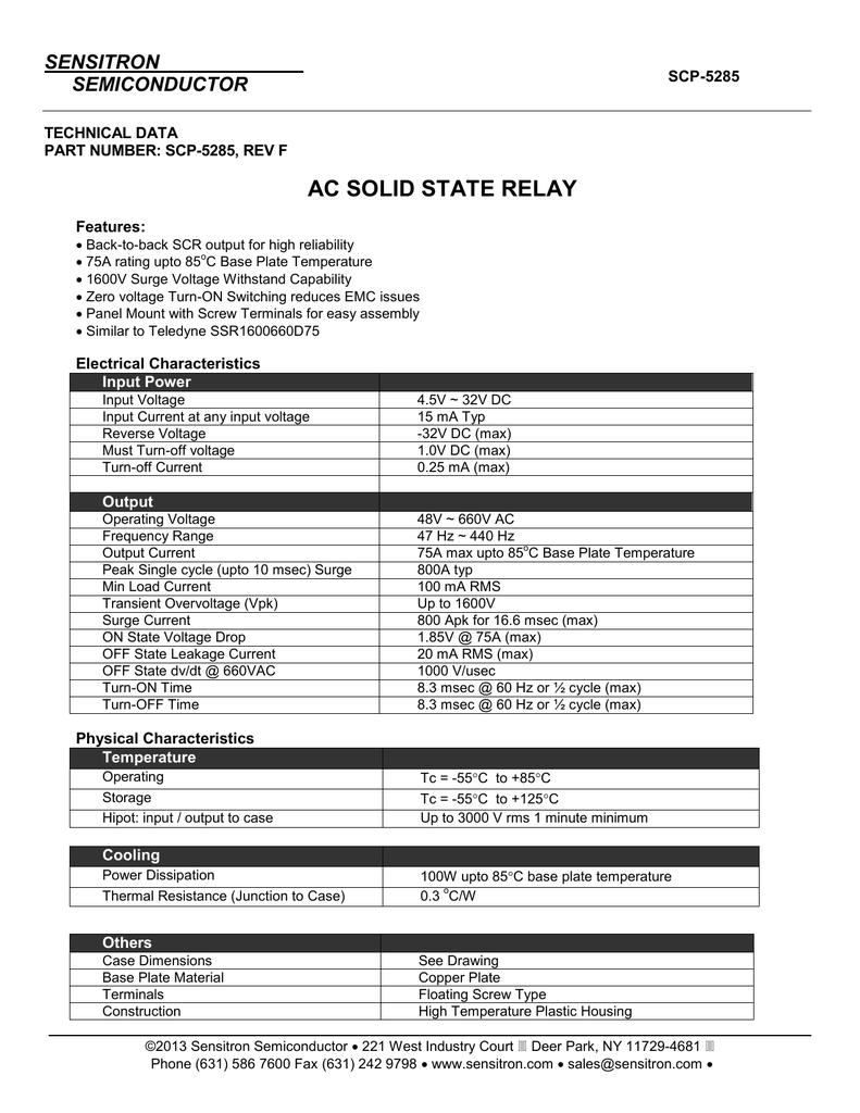 Scp 5285 Sensitron Current Relay Characteristics