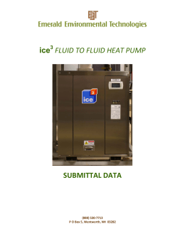 ice 3 FLUID TO FLUID HEAT PUMP SUBMITTAL DATA