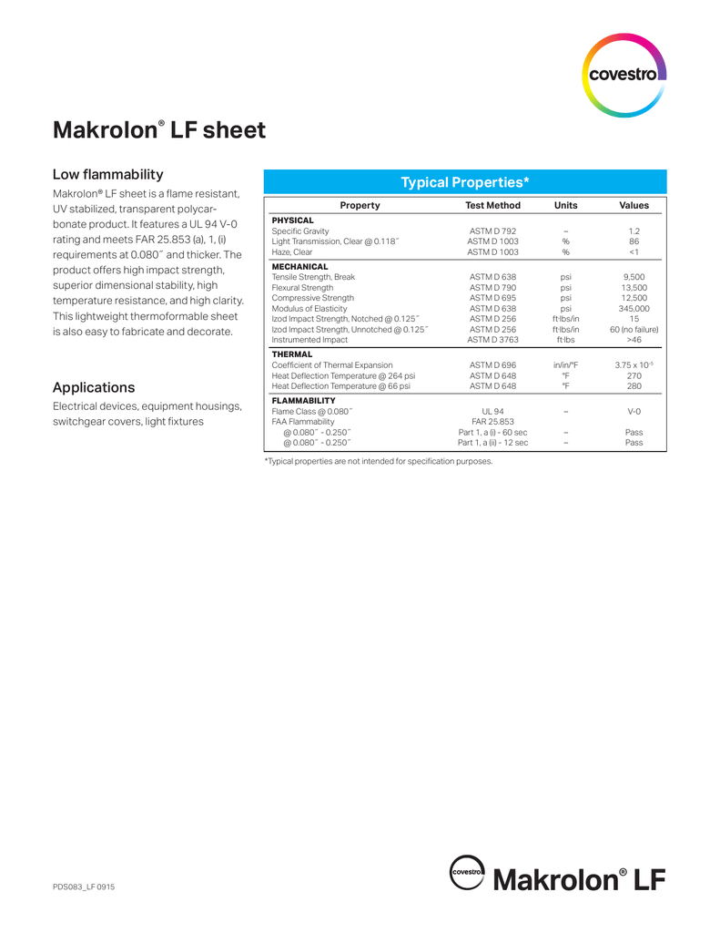 Makrolon® LF Data Sheet