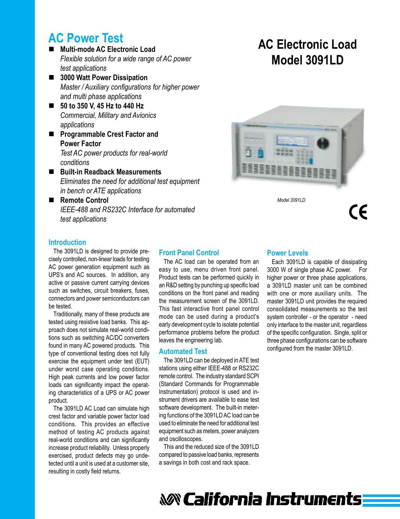 Ac Power Test Electronic Load Model 3091ld Figure 5 Circuit Constant Resistancecr Operation