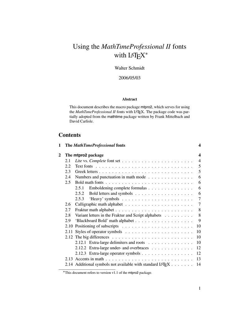 Using the MathTımeProfessional II fonts with LATEX