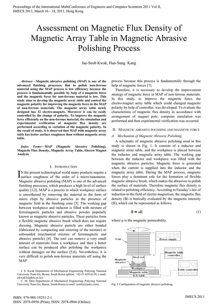 Assessment on Magnetic Flux Density of Magnetic Array
