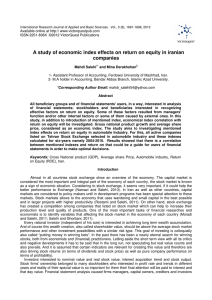 A study of economic index effects on return on equity in iranian
