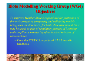 Biota Modelling Working Group (WG4) Objectives