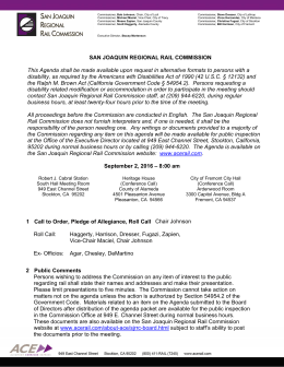 SAN JOAQUIN REGIONAL RAIL COMMISSION This Agenda shall