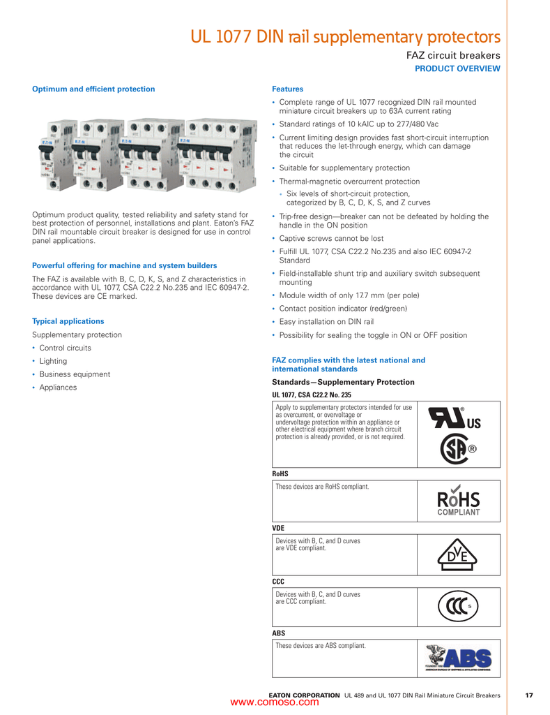 Faz Series Thermal Magnetic Overcurrent Supplemental Protection Miniature Circuit Breakers