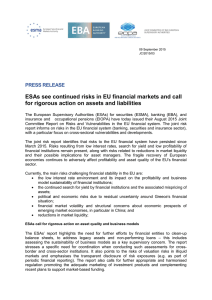ESAs see continued risks in EU financial markets and call for