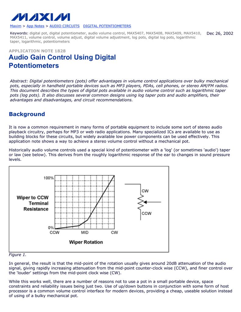 Audio Gain Control Using Digital Potentiometers