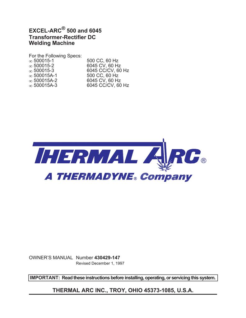 thermal arc inc , troy, ohio 45373-1085, usa