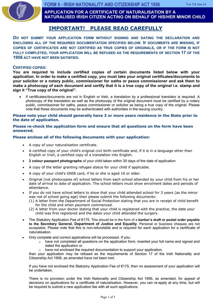 Form 9 Irish Naturalisation And Immigration Service