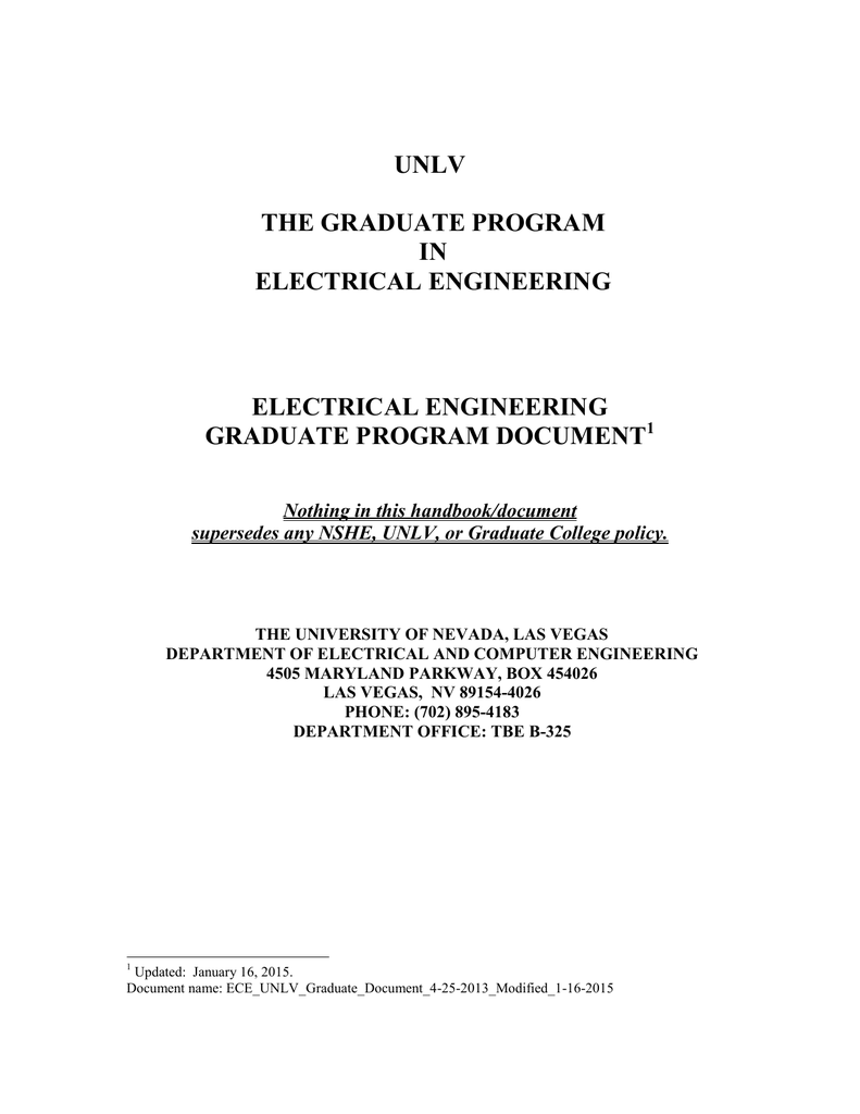 unlv the graduate program in electrical engineering electrical