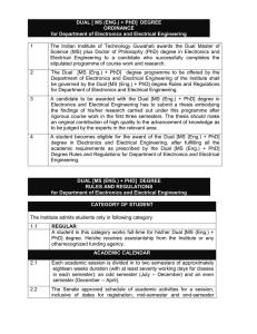 DUAL [ MS (ENG.) + PHD] DEGREE ORDINANCE for Department of