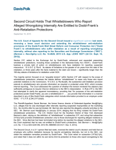 Second Circuit Holds That Whistleblowers Who Report Alleged