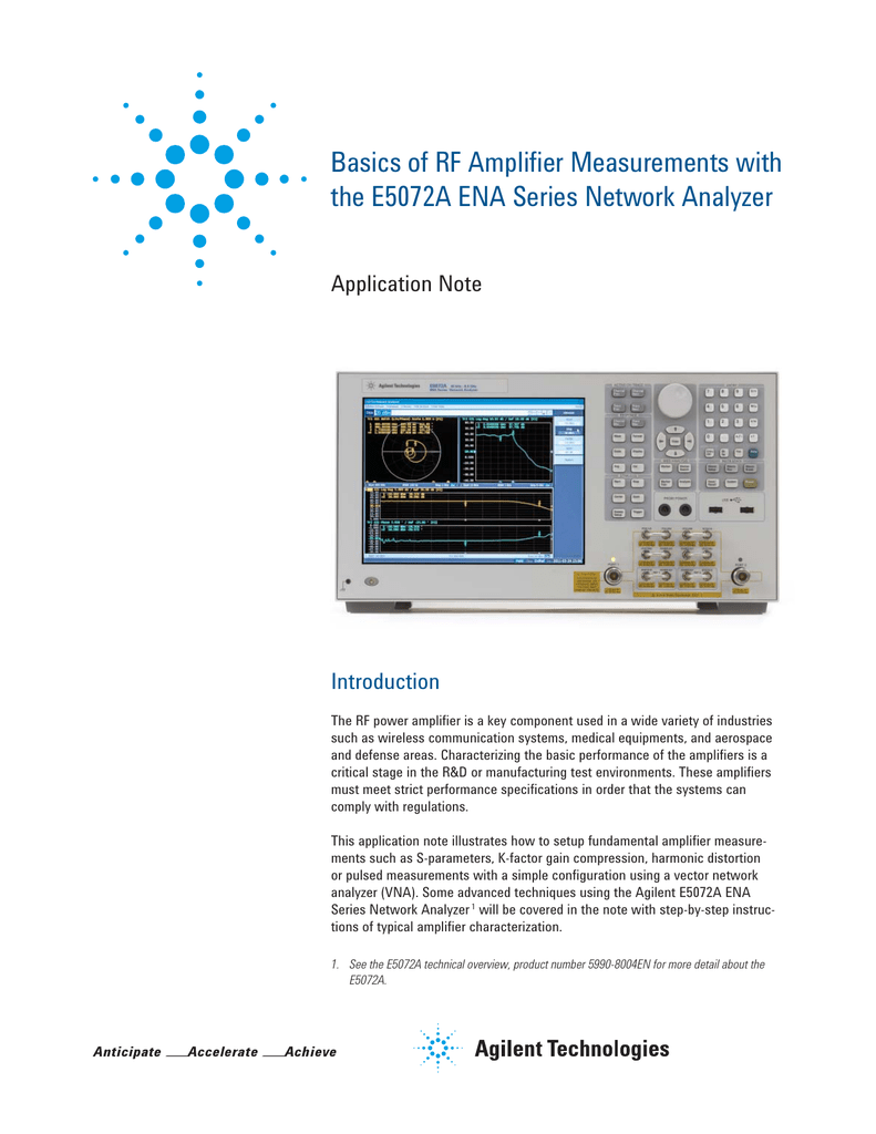 Basics of RF Amplifier Measurements with the E5072A ENA Series